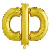 Шар с клапаном (16''/41 см) Мини-буква, Ф, Золото, в упаковке 1 шт.