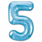 Шар (40''/102 см) Цифра, 5 Slim, Голубой, 1 шт.