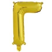 Шар с клапаном (16''/41 см) Мини-буква, Г, Золото, в упаковке 1 шт.