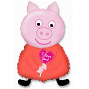 Шар на палочке (13''/33 см) Мини-фигура, Поросенок с сердцем, Розовый, 1 шт.