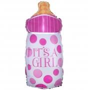 Шар (29''/74 см) Фигура, Бутылочка для малышки, Розовый, 1 шт.