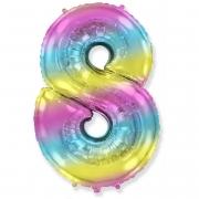 Шар (40''/102 см) Цифра, 8, Диагональная радуга, 1 шт.