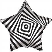Шар (21''/53 см) Звезда, Иллюзия, Белый/Черный, 1 шт.
