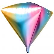 Шар 3D (41''/104 см) Алмаз, Нежная радуга, Градиент, 1 шт.