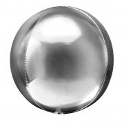 Шар (20''/51 см) Сфера 3D, Серебро, 1 шт.