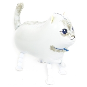 Шар (24''/61 см) Ходячая Фигура, Кошка, Белый, 1 шт.