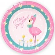 Тарелки (7''/18 см) С Днем Рождения! (фламинго и золотые лягушки), Розовый/Бирюзовый, 6 шт.