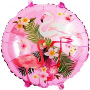 Шар (18''/46 см) Круг, Фламинго, Розовый, 1 шт.