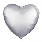 Шар (19''/48 см) Сердце, Платина, Сатин, 1 шт.