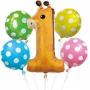 """Набор из шаров """"1-ый День Рождения, Маленький Жираф"""""""