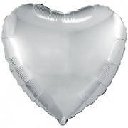 Шар (19''/48 см) Сердце, Серебро, 1 шт.