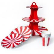 Стойка для десертов Золотая кайма, Красный/Белый, 1 шт.