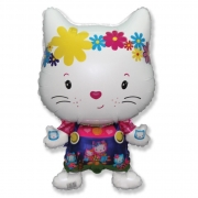 Шар (29''/74 см) Фигура, Маленький дружелюбный котенок, Белый, 1 шт.