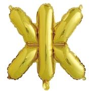 Шар с клапаном (16''/41 см) Мини-буква, Ж, Золото, в упаковке 1 шт.