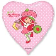 Шар (18''/46 см) Сердце, Клубничка с покупками, Розовый, 1 шт.