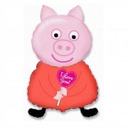 Шар (32''/81 см) Фигура, Поросенок с сердцем, Розовый, 1 шт.