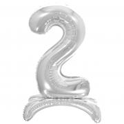 Шар (32''/81 см) Цифра, 2 на подставке, Серебро, 1 шт.
