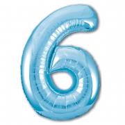 Шар (40''/102 см) Цифра, 6 Slim, Голубой, 1 шт.