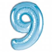 Шар (40''/102 см) Цифра, 9 Slim, Голубой, 1 шт.