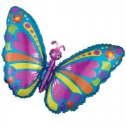 Шар (30''/76 см) Фигура, Экзотическая бабочка, Голубой, 1 шт.