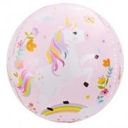 Шар (24''/61 см) Сфера 3D, С Днем Рождения (волшебные единороги), 1 шт.