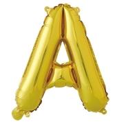 Шар с клапаном (16''/41 см) Мини-буква, А, Золото, в упаковке 1 шт.