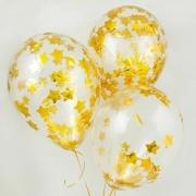 Шар (12''/30 см) С золотым конфетти, звезды, 1 шт.
